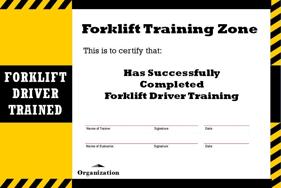 Forklift Training card - Forklift News Forklift News - forklift certification card template