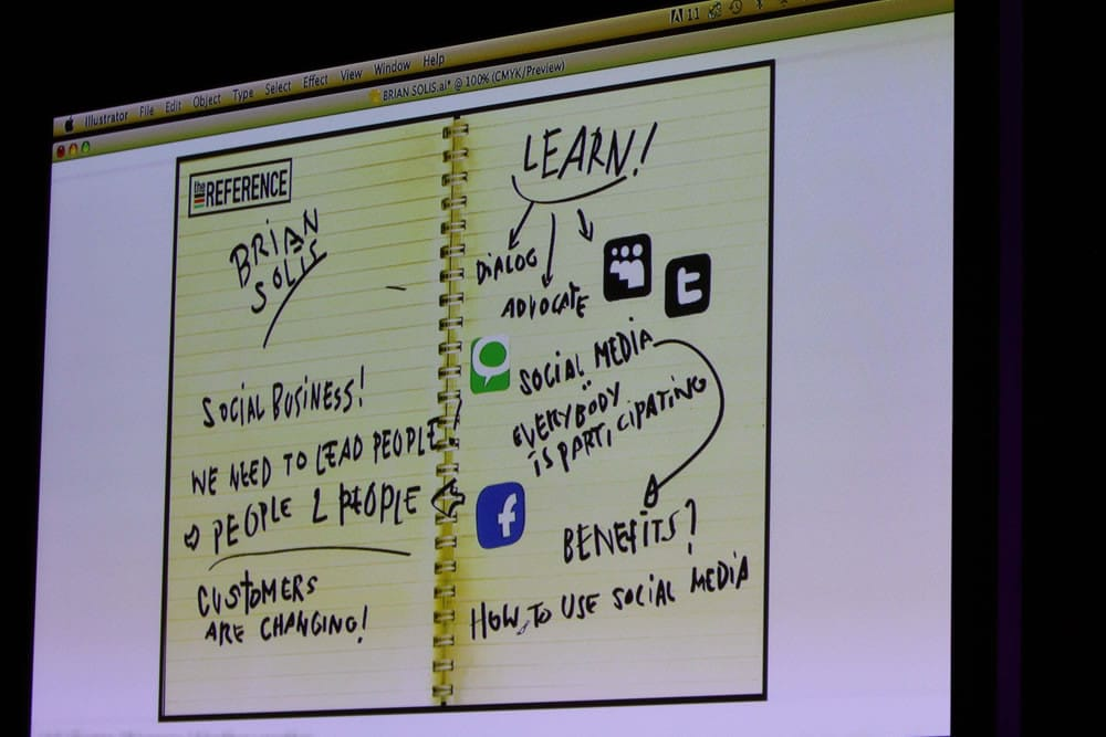 Visual content – live sketching at the i-SCOOP Fusion Marketing Experience Social Business Sessions with Brian Solis – picture Nancy Verbrugghe