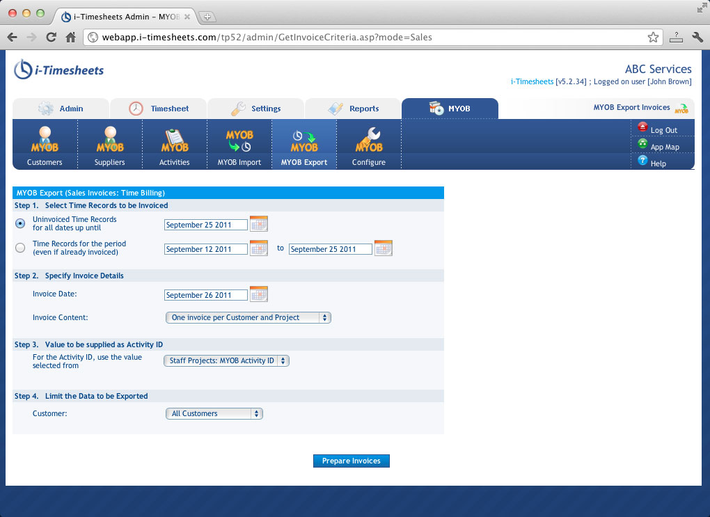 MYOB Integrated Timesheet, Time tracking and Web Timesheets - i - invoice web app