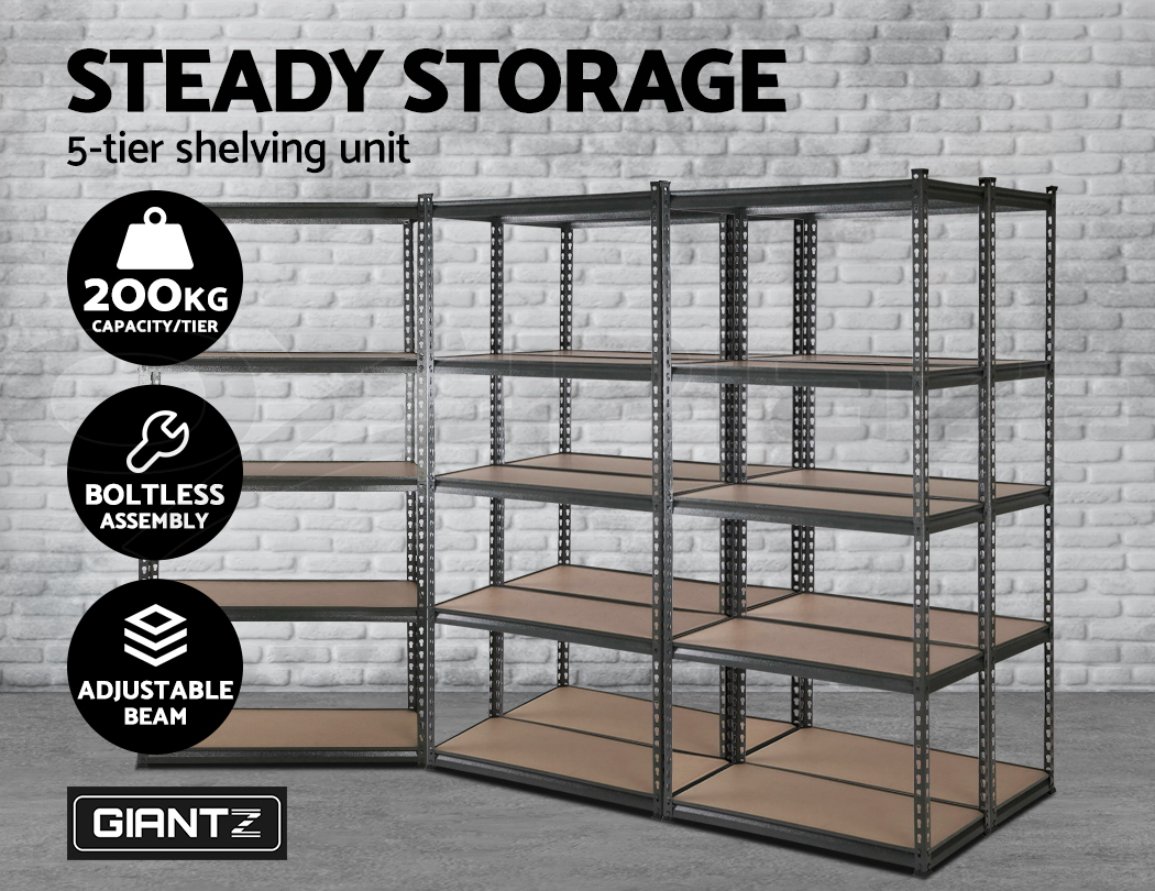 5x90cm Steel Giantz Warehouse Storage Rack Garage Shelves