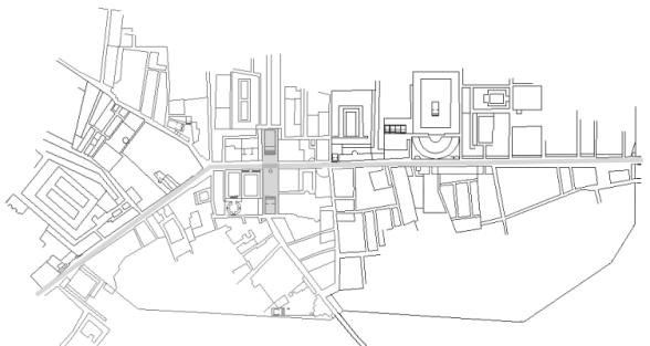 Karte des Ausgrabungsgeländes von Ostia Antica