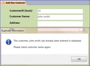How To Prevent A Duplicated Data Entry Iaccessworldcom