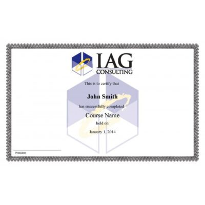 Replacement Certificate - IAG Course Completion - IAG Consulting