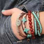 leather stacked bracelets
