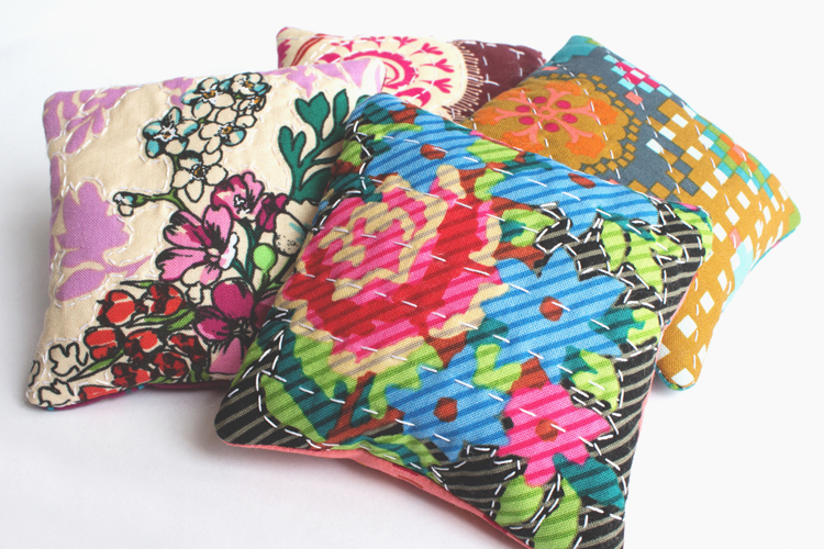 hand stitched sachets pillows