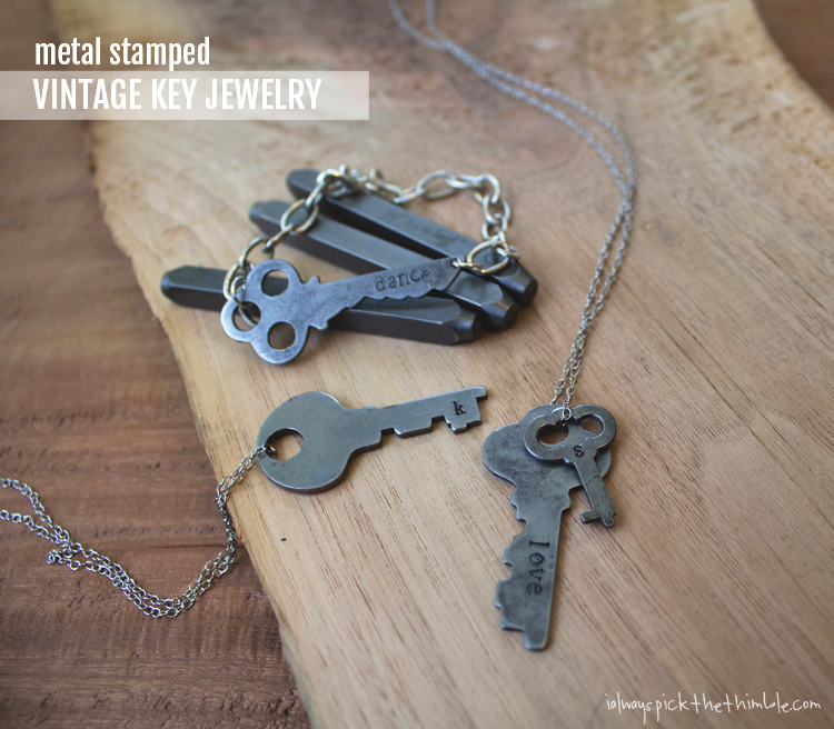 stamped metal key jewelry collection