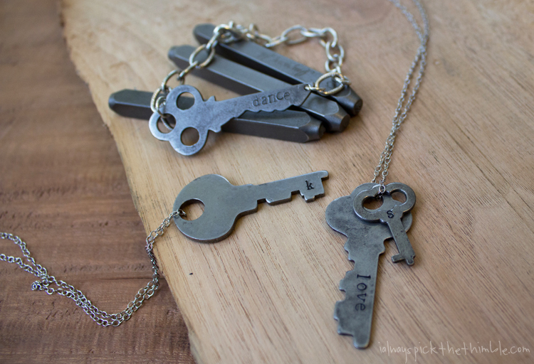 stamped vintage key jewelry finished