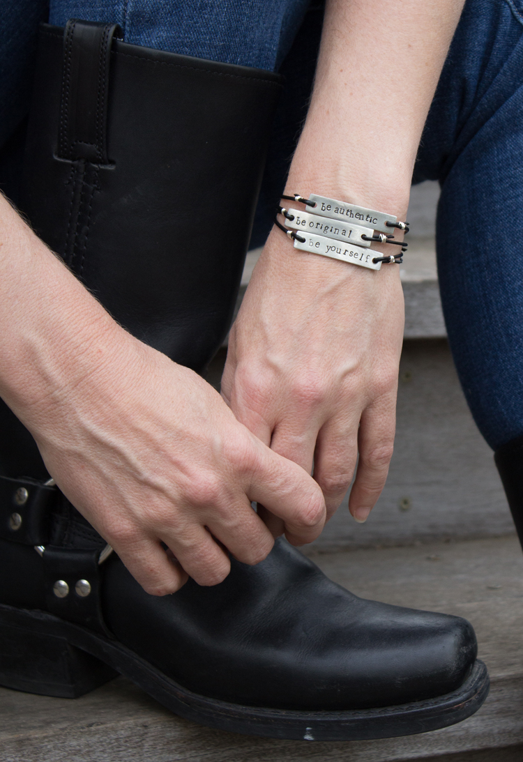 be authentic metal stamped bracelet with boots
