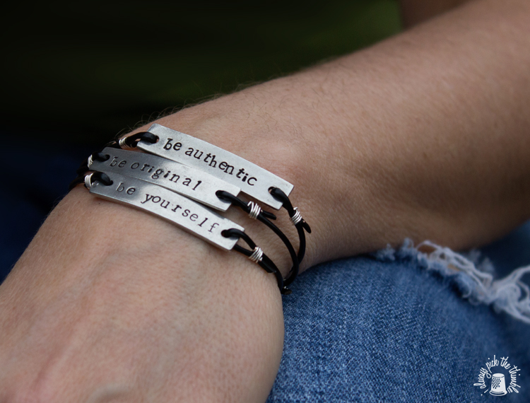 be authentic stamped metal bracelet