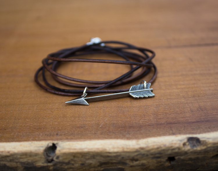 leather wrapped arrow bracelet - rugged and pretty