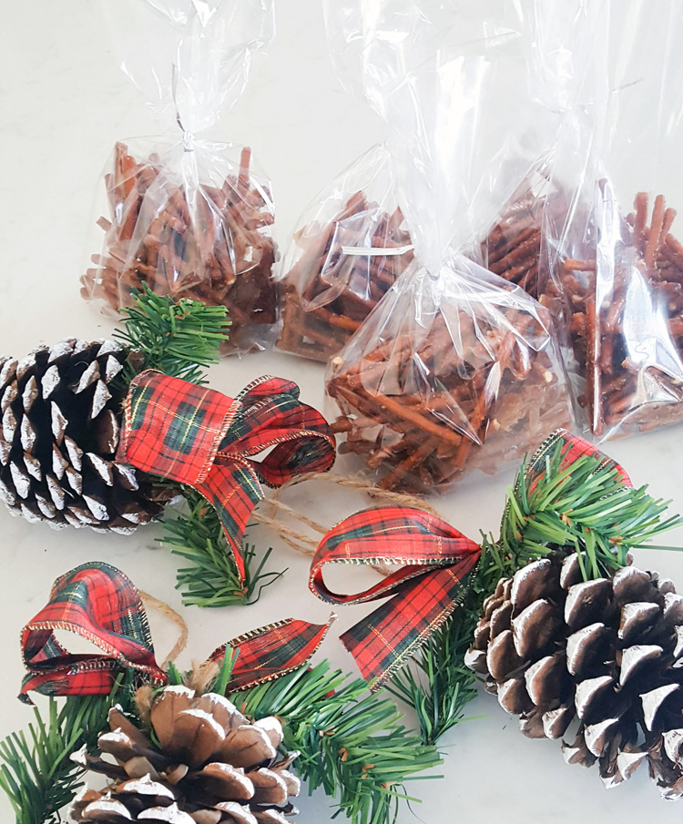 pretzel bags and pinecones