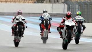 Michael Schumacher, Pol Espargaro, Randy Mamola, John McGuinness and Keith Flint at the Paul Ricard circuit