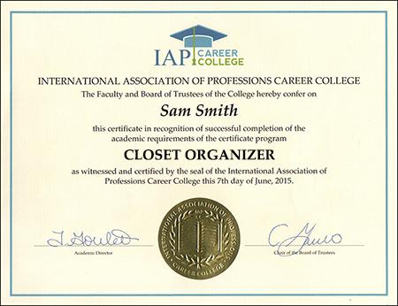 Closet Organizer Certificate Course Online - college organizer