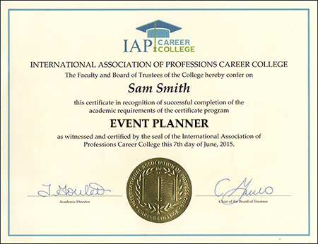 Event Planner Certificate Course Online
