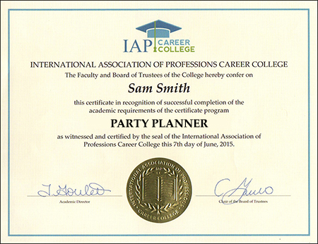 Party Planner Certificate Course Online