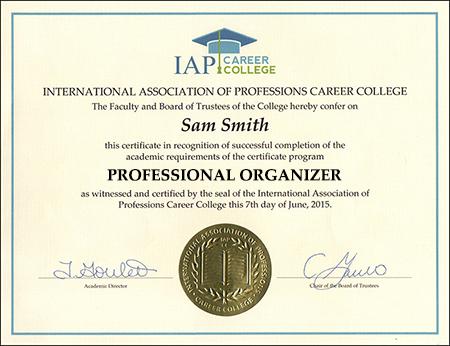Professional Organizer Certificate Course Online - college organizer