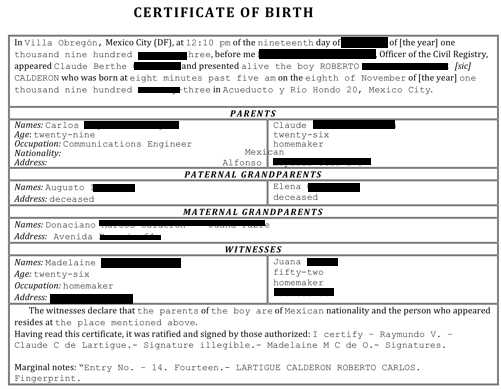 Birth Certificate Translation Certified  Notarized in Spanish - sample birth certificate