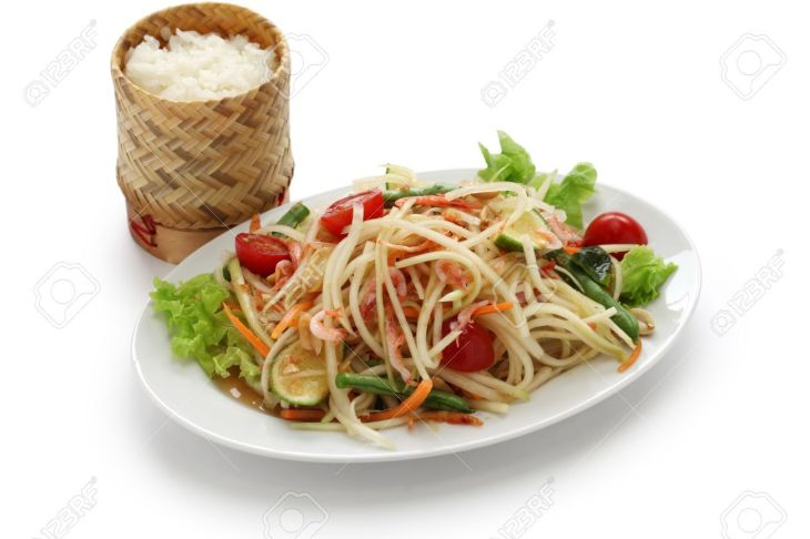 20581280-som-tam-thai-green-papaya-salad-sticky-rice-in-bamboo-container-Stock-Photo