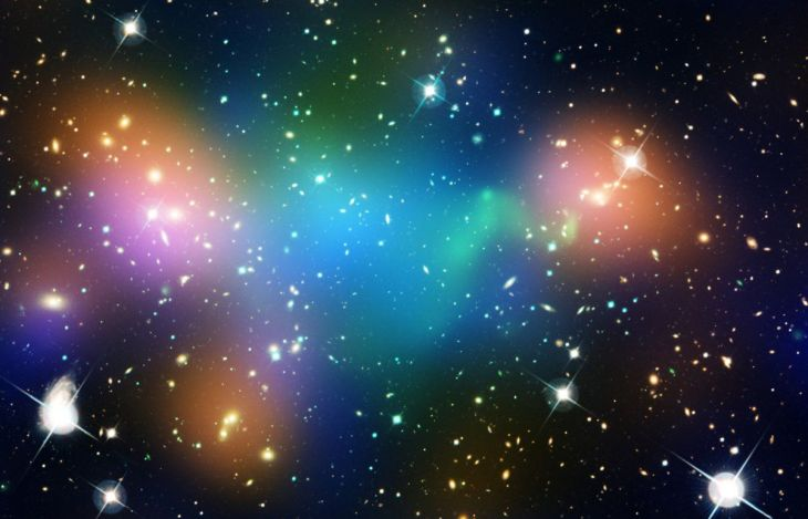 we-cant-see-dark-matter-but-we-know-its-there-thanks-to-hubble-the-is-a-real-hubble-image-of-a-galaxy-cluster-with-false-coloring-superimposed-on-top-the-false-blue-indicates-where-most-of-the-clusters-mass-is-located-but