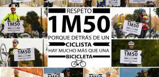 respeto al ciclista, un metro y medio al adelantar