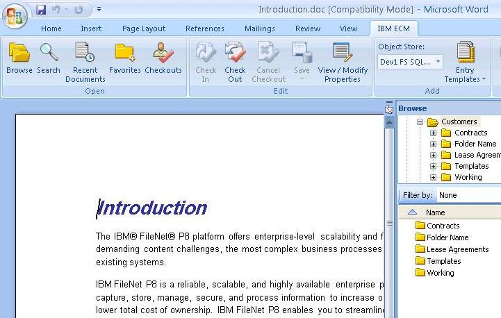 FileNet P8 system overview - Microsoft Office integration