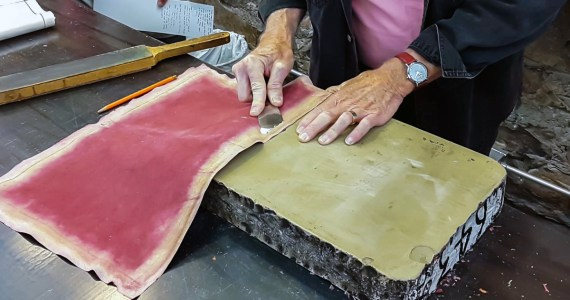 Paring Leather on a Lithographic Stone
