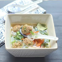 Potsticker Meatball Asian Noodle Soup - Low Carb & Gluten Free
