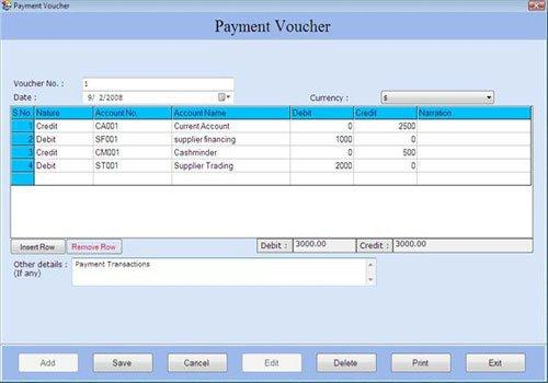 Business inventory tracking software create payment voucher detail