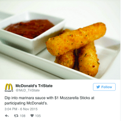 Small Of Mcdonalds Mozzarella Sticks