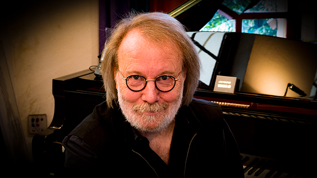 Benny Andersson at the piano that will feature on his solo CD