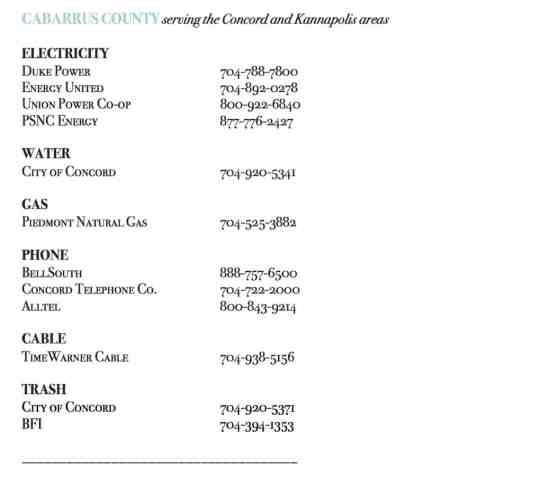 Cabarrus County Utility Companies