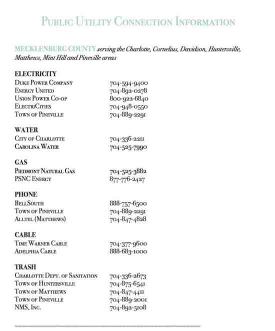 Mecklenburg County Utility Providers