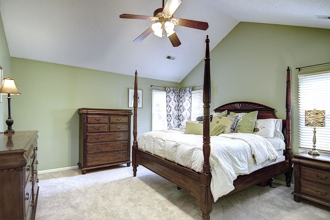 Large master suite with vaulted ceilings in popular south charlotte neighborhood