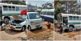 """It's actually considered to be dry season. But these guy's (and with them everywhere in the country) on every stop they """"cool"""" down brakes or engines or what not with tons of water. Seen them doing this for up to 20 minutes... just let the rivers flow."""