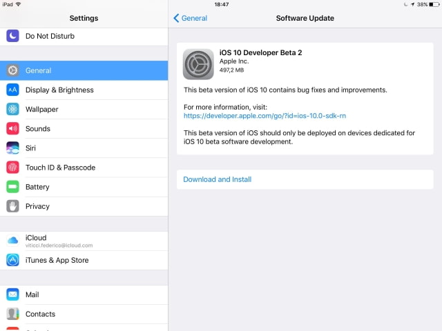 Apple Releases iOS 10 Beta 2 [Download]