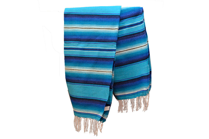 Icolori Turquoise Mexican Serape Sarape Blanket Type
