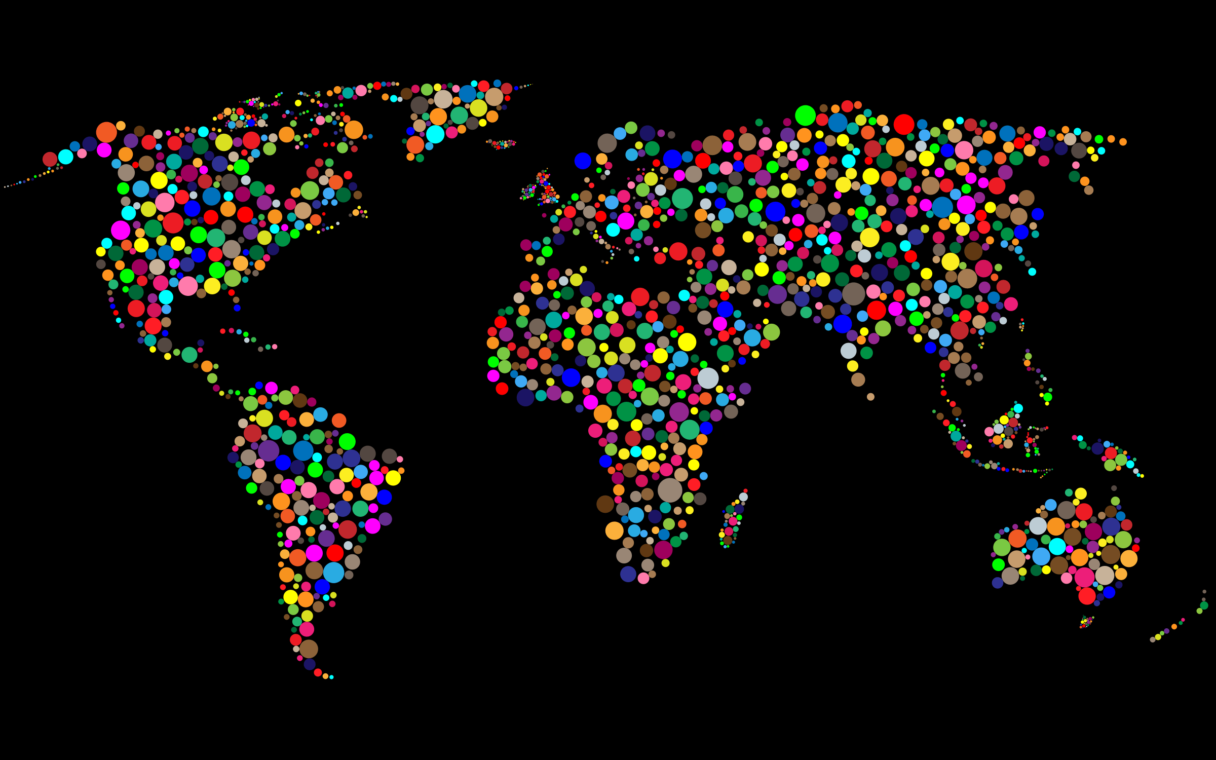 Colorful Circles World Map With Background 5 Icons Png