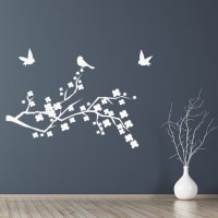 Floral Branch With Birds Wall Sticker Nature Wall Art
