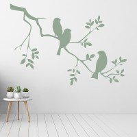 Simple Branch With Birds Wall Sticker Nature Wall Art
