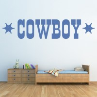 Cowboy With Sheriff Stars Wall Sticker Cowboy Wall Art