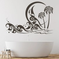 Palm Tree Beach Scene Wall Sticker Beach Wall Art