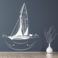 Sail Boat Outline Wall Stickers Boat Wall Art
