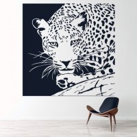 Leopard On Branch Wall Sticker Animal Wall Art