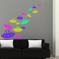 Alien Spaceship UFO Space Wall Sticker Pack