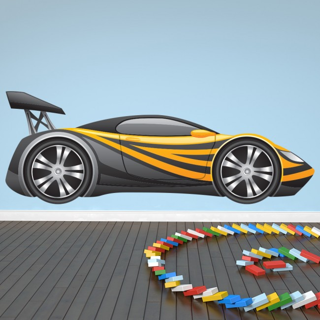 Race Car Bedroom Wallpaper Murals Black Amp Yellow Race Car Wall Sticker Fun Sport Car Wall