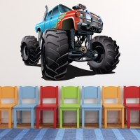 Blue Red Monster Truck Wall Sticker Cool Vehicle Wall ...