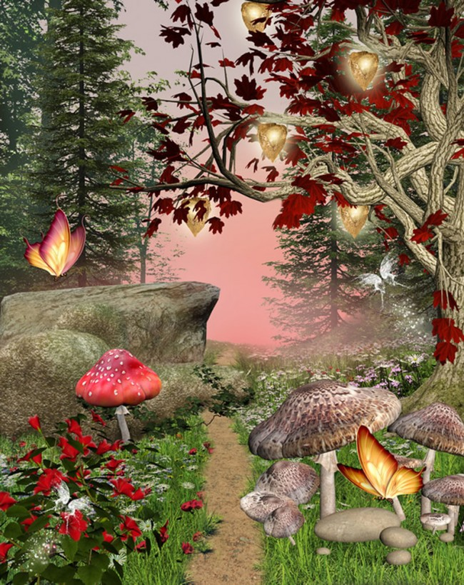 Wallpaper For Girls Room Uk Enchanted Forest Wall Mural Red Butterfly Trees Photo