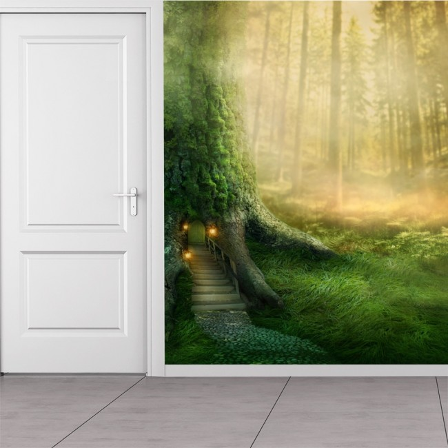Girls Wallpaper Mural Magical Tree House In Enchanted Forest Fantasy Wall Mural