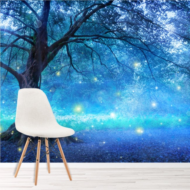 Wallpaper For Girls Room Uk Mystical Fairy Tree Blue Enchanted Forest Kids Wall Mural