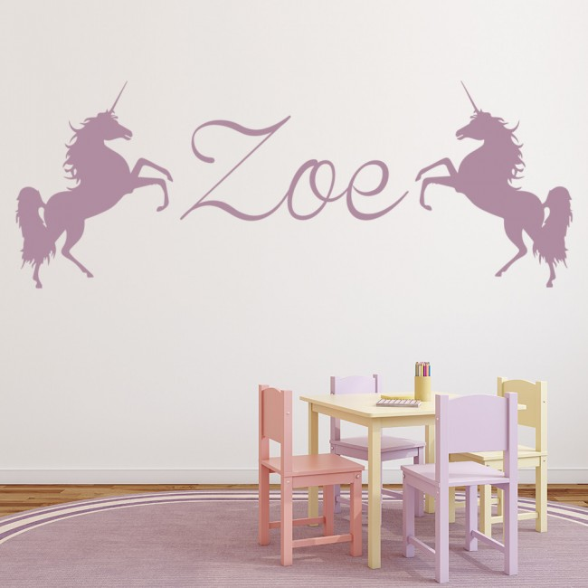 Baby Girl Nursery Removable Wallpaper Personalised Name Wall Sticker Unicorn Wall Decal Girls